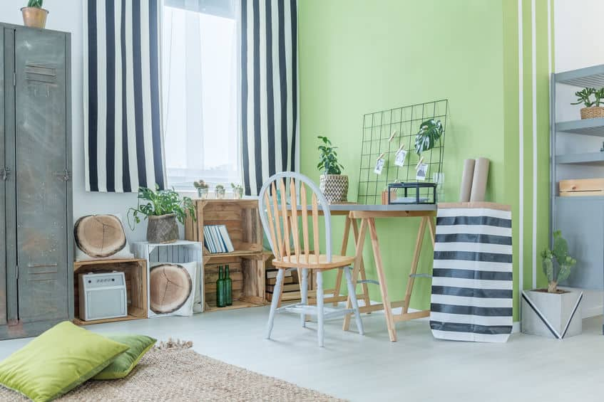 צביעת דירה בירוק ולבן